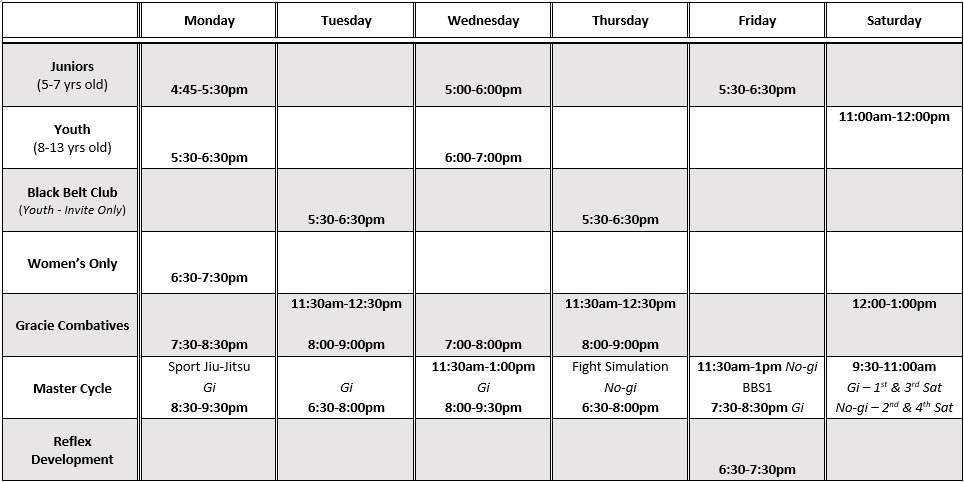 Baltimore Gracie Jiu Jitsu Class Schedule